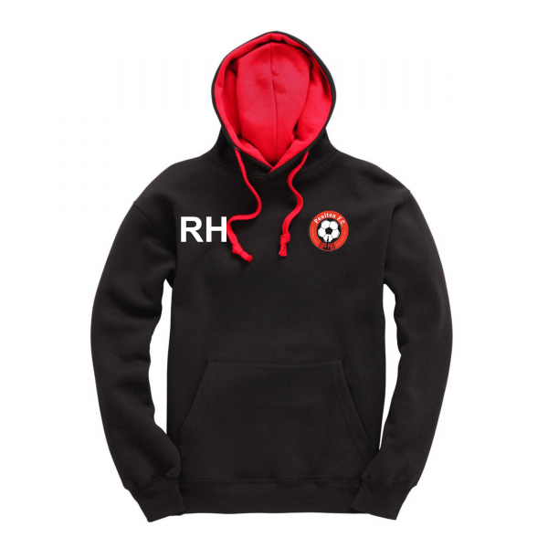 Poulton FC Adults Hoodie Black Red Initials