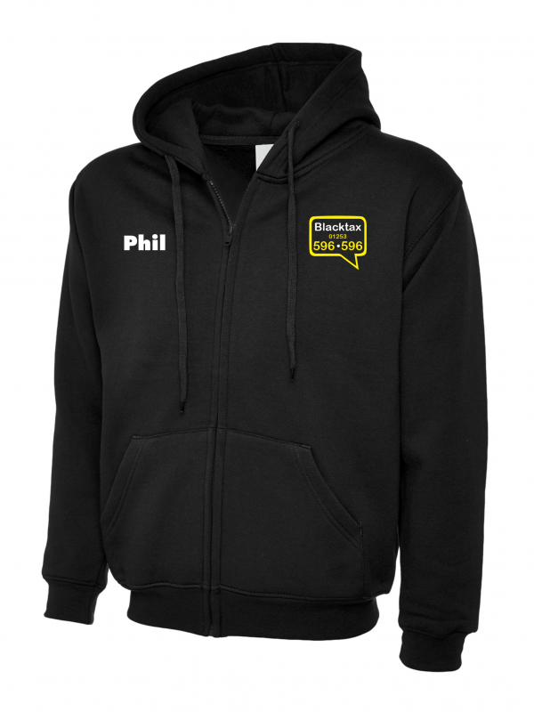 Blacktax Zipped Hoodie With Initials