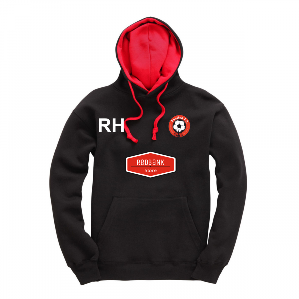Poulton FC Adults Hoodie Black Red Initials Logo