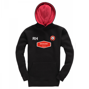 Poulton FC Childrens Hoodie Black Red Initials Logo
