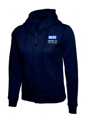 NHS Ward 35 Ortho Warriors Zipped Hoodie Navy