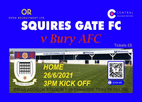 Squires Gate FC Tickets Bury AFC